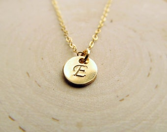 Gold Initial Necklace, 14k Gold Filled Personalized Necklace, Gold Initial Charm, Layering Necklace, Tiny Initial Jewelry, Letter Disc Charm
