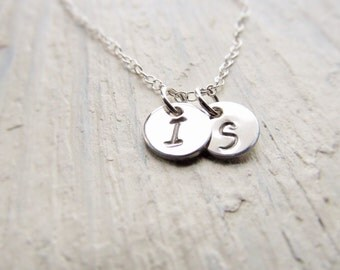 Mothers Necklace Silver, Initial Necklace Sterling Silver, Silver Initial Charm, Personalized Mother Gift, Round Initial Disc, 1-8 Initials