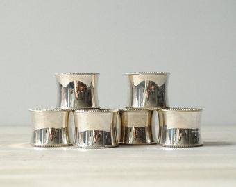 Vintage Silver-Plate Napkin Rings, Set of 6