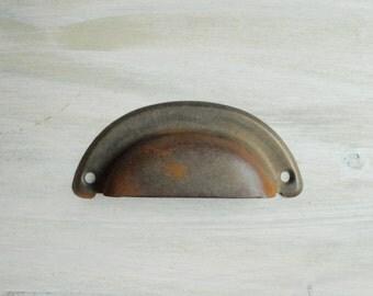 Vintage Cup Drawer Pull, Metal Drawer Handle