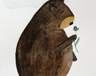 Bear original watercolor, brown grizzly bear, children's art, bear smelling flower, woodland, whimsical,, clover, simple, nursery art