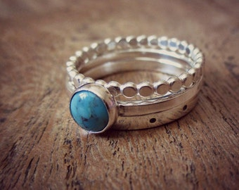 Turquoise Ring Stack - Sterling Silver stacking rings, handmade in UK, Summer jewellery, custom made to order