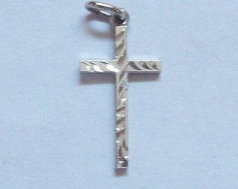 Tiny Bright Cut Cross Sterling Silver Charm