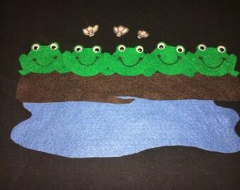 Five Green Speckle Frogs Flannel Felt Story/Preschool