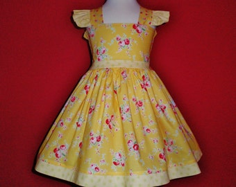 Girls Yellow Floral Dress, Yellow and Pink Floral Dress, Flutter Sleeve Dress, Church Dress, Pictures Dress, Baby Girl Yellow Dress, Custom