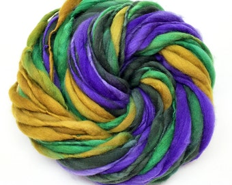 Self striping super bulky yarn in hand dyed merino wool - 47 yards and 3.15 ounces/ 89 grams