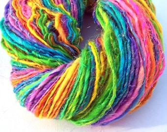 Handspun sparkly rainbow yarn, self striping  - 145 yards, 3.05 ounces, 87 grams