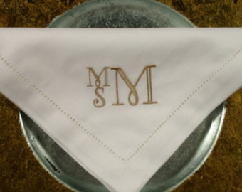 Sale! Set of eight Monogrammed Napkins
