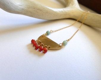 Bohemian Necklace, Gold Half Moon Pendant, Boho Luxe Necklace, Handmade Jewelry by M Frances Jewelry
