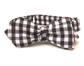 Men's Bow Tie - Brown Gingham - Diamond Point Tip or Butterfly Style - Adjustable / One Size Fits All