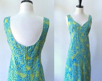 Womens 1960s Dress Sleeveless Summer Dress Tropical Print Dress Summer Shift Vintage Sun Dress Casual Dresses Summer Dresses Size Med