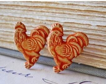 SALE Wooden Rooster Earrings / Eco Friendly Wood Posts / Male Chicken Stud Earrings on Stainless Steel for Sensitive Ears, Rustic Farm Anima
