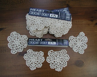 Crochet Doily Set, 4 Doily Hearts, Small Crochet Doily, 4 inches in Size, Small Craft Doilies, Heart Shaped Doily, White Round Doily Set