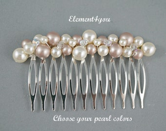 Ivory Champagne Pearls Comb Bridal Swarovski pearls cluster Beaded Silver Veil attachment Bride hair wedding accessory Handmade Unique