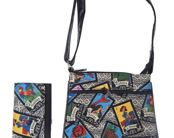 "A Cross Body Bag & A Matching Wallet With ""LOTERIA"" Gothic Halloween Pattern, Cotton, New , (Only 2 Items)"
