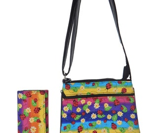 "A Cross Body Bag and   A Matching Wallet With ""LADYBUGS IN RAINBOW "" Pattern, Cotton, New , (only 2 Items)"