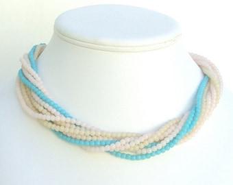 Vintage Necklace, Aqua, Pink, Tan, Celluloid Beads