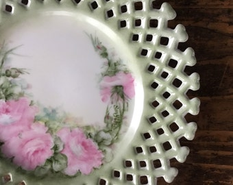 Vintage Signed Hand Painted Cottage Chic Plate