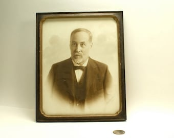 Edwardian Gentleman with Goatee and Bowtie Actual Framed Vintage Sepia Photograph dated 1918 Businessman Male Portrait Detroit Industrialist
