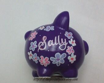 purple piggy bank ,personalized,customized piggy bank,all purple piggy bank,small piggy bank,piggy bank for girls, baby girls piggy bank