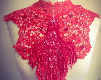 Lace and beaded burlesque steampunk red couture collar neck piece valintines