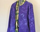 "Blue Violet XL Denim JACKET - Purple Dyed Upcycled New Direction Denim Trucker Jacket - Adult Womens Size Extra Large (46"" chest)"
