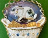 Vintage Look Bunny Easter Ornament Victorian-1909 Postcard Rabbit, German Dresdens,German Tinsel, Cotton Batting