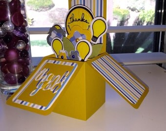 Thank you light bulbs and flowers pop up box handmade greeting card yellow blue and gray