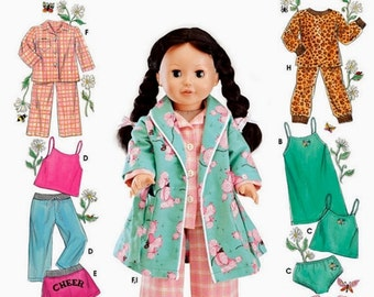 18 inch Doll Clothes Pattern, 18 inch Doll Pajamas and Robe Pattern, Simplicity Sewing Pattern 5276