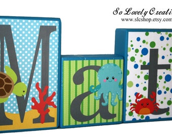 Matthew Collection - Under the sea Theme Name Blocks - Ocean Theme - Sea Animals - Turtle, Fish, Octopus, crab - Blue, Green, White and Gray