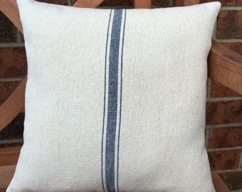 Grain Sack Pillow Cover Blue Stripe Grain Sack Pillow Grain Sack Ticking Pillow Grain Sack Envelope Pillow Cover Stripe Grain Sack Pillows