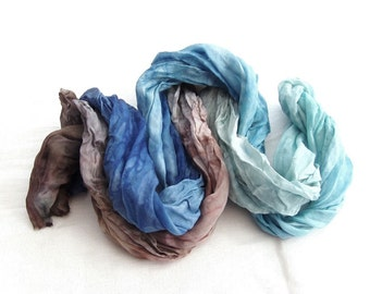 Hand dyed scarf, hand painted scarf, ombre scarf, silk scarf, crinkle, long scarf, blue brown scarf, coast, gift for him, pure silk