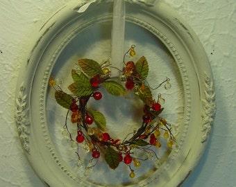 Vintage Oval Frame - Fall Decor - Vintage Wood Frame - Seasonal Decor - Autumn Decor - Home Rustic Decor