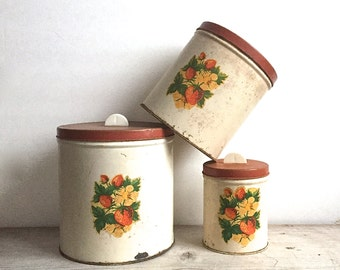 Vintage Rustic Canisters Strawberry Decals Red Lids