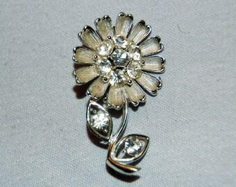 Vintage / Brooch / Daisy / Rhinestone / Flower / old / jewelry / jewellery