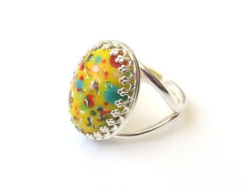 Sterling Silver Vintage Yellow Ring, Speckled Carnival Millefiori Ring, Czech Glass Cabochon, Adjustable, or Choose Gold, Rose Gold, Bronze