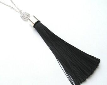 Long Druzy Tassel Necklace, Black Tassel, Silver Druzy Necklace, Bold Statement Necklace, Silver Necklace