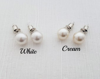 Pearl Stud Earrings Bridal Jewelry Bridesmaid Earrings Swarovski Pearl Wedding Earrings Wedding Jewelry