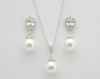 Pearl Wedding Jewelry Set Cubic Zirconia Bridal Earings and Necklace Set White OR Cream Swarovski Pearl Drops Bridesmaid Jewelry