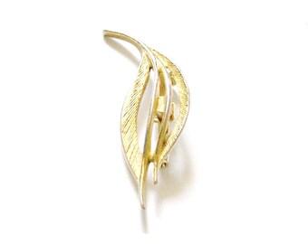 Vintage 1950's Modernist Leaf Gold Tone Designer Brooch Pin, Mid Century, VisionsOfOlde