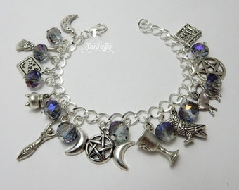 Spiritual Moon Goddess Charm Bracelet with mystic crystals