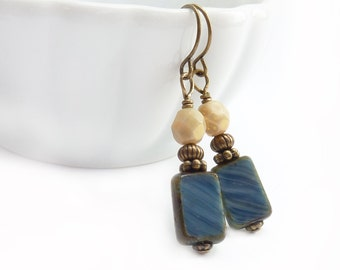 Denim Blue Earrings - Picasso Rectangle Glass - Ivory - Yoga Jewelry - Boho Drop Dangle Earrings