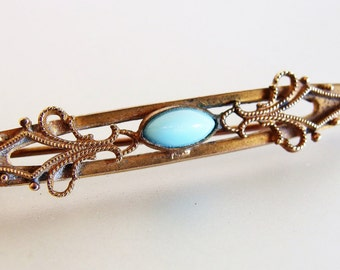 Pretty Antique Victorian Brass and Turquoise Glass Bar Pin