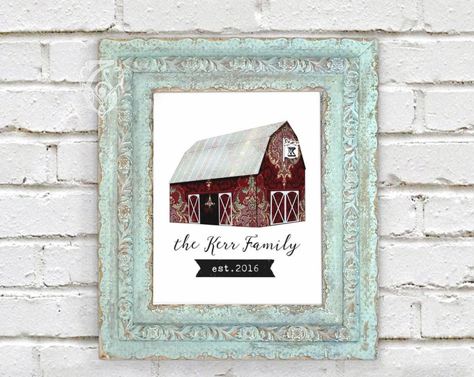 Barn Wedding editable PSD DIY Personalization Antique Wallpaper Barn Collage with Monogram Printable