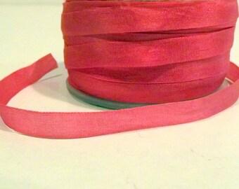 Silk Watermelon Pink Silk Ribbon 1/4 inch wide 2 yards 100% silk