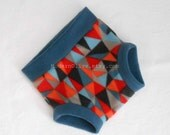 Large Anti-Pill Fleece Fitted Diaper Cover/Soaker/Underpant/Trainer/Cloth Pull Up, Triangle Storm, Slate Blue Gray Orange Red, Vegan