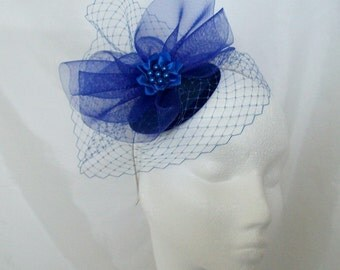Sapphire Royal Cobalt Blue Blusher Veil Wedding Fascinator Mini Hat - 'Custom Made To Order'