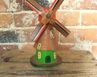 Dutch Windmill,  Vintage Wooden Windmill,  Holland Windmill, Hand Painted