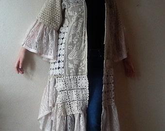 Shabby Chic doily jacket Romantic Vintage crochet doilies Kaftan One of a kind clothing Women's Coat