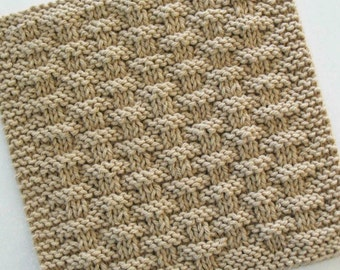 Cotton Dishcloth, Knit Basketweave Dishcloth, Knitted Washcloth, Beige Brown Neutral Kitchen Decor